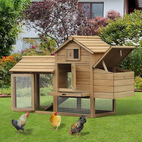 PawHut Solid Wood Enclosed Outdoor Backyard Chicken Coop Kit with Nesting Box