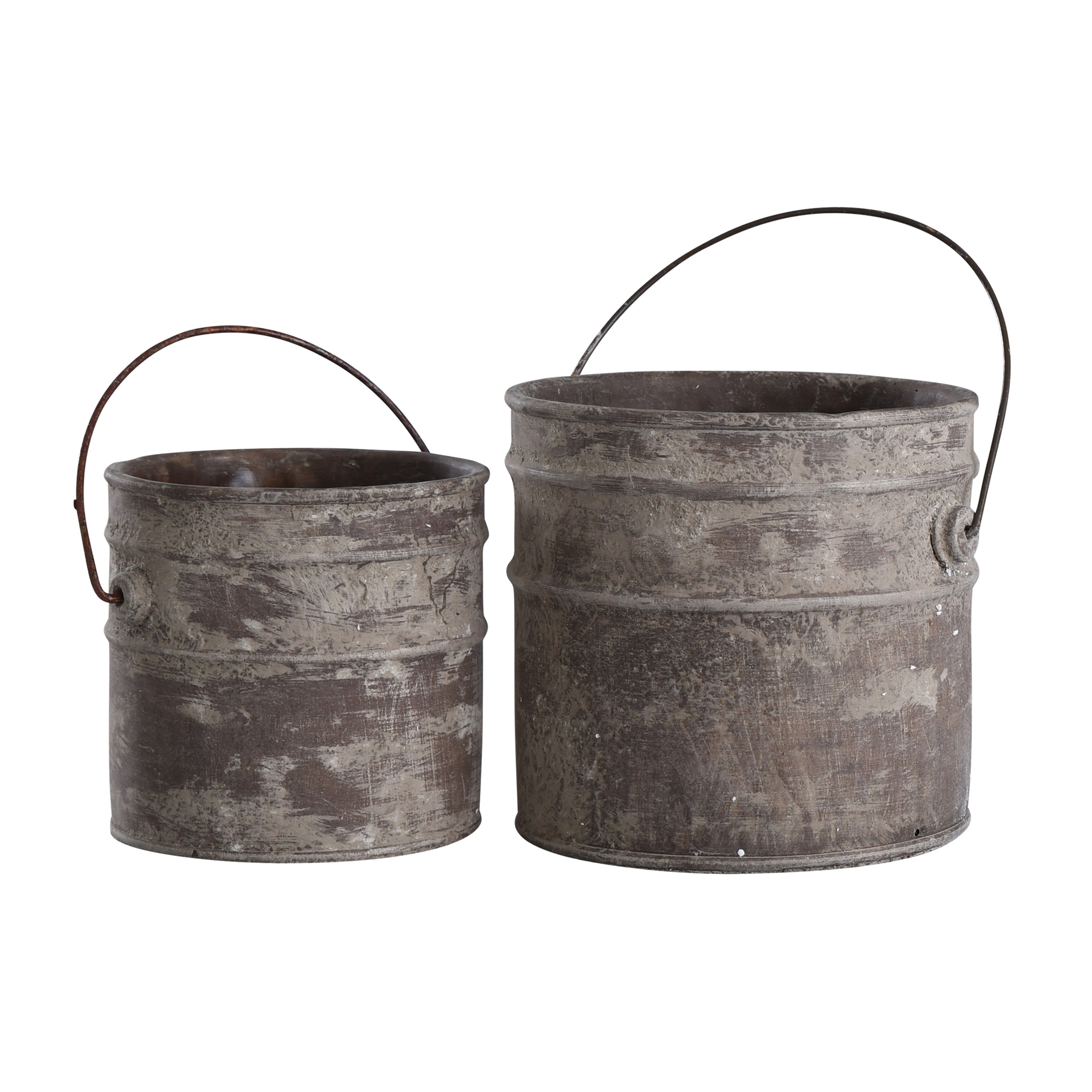 Onley Collection of Concreate Buckets with Wire Handles (Set of Two)