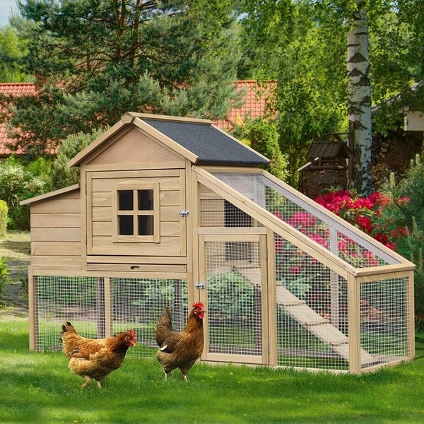 """PawHut 69"""" Outdoor Wooden Chicken Coop Hen House with Nesting Box and Run. Opens flyout."""