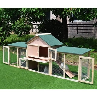 "Pawhut 83"" Wood 2 Story Outdoor Deluxe XL Rabbit Hutch"
