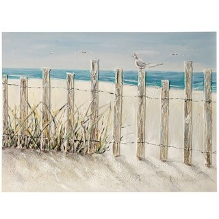 Porch & Den Beach Fence Bird' Textured Hand-painted Stretched Canvas Art