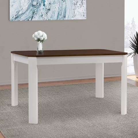 CorLiving Solid Hardwood Dining Table with Angled Corners