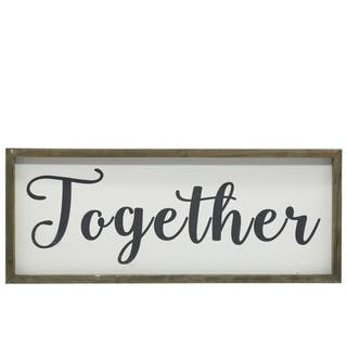 UTC26496: Wood Rectangle Wall Art with Sage Color Frame and Metal Back Hangers Painted Finish White