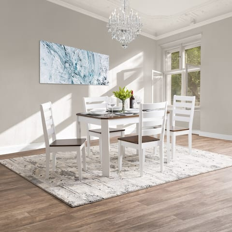CorLiving 5pc Solid Hardwood Dining Table and Chair Set
