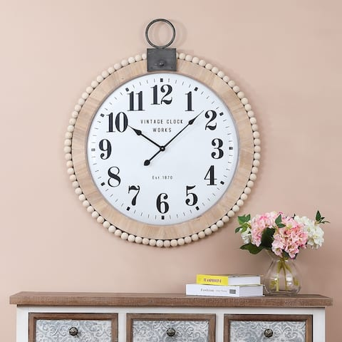 31.5in. Dia. Wood and Metal Wall Clock