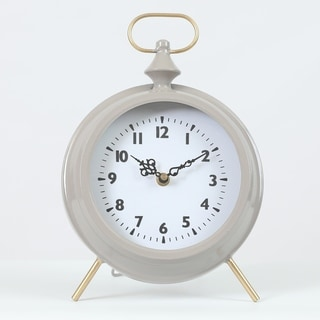 Round Decorative Table Clock Gray