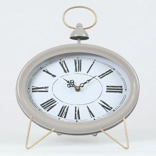 Oval Decorative Table Clock Gray