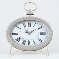 Oval Decorative Table Clock Gray