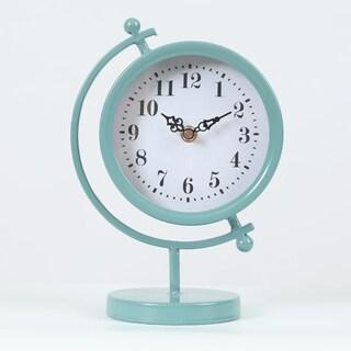 Round Decorative Tabletop Clock Teal