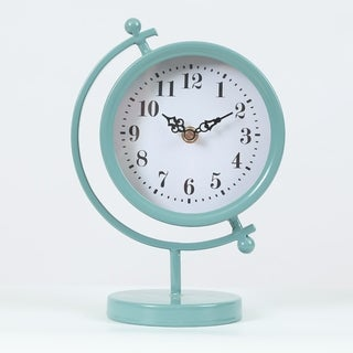 Round Decorative Tabletop Clock Teal