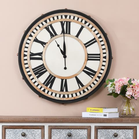 32.3in. Dia. MDF and Iron Wall Clock