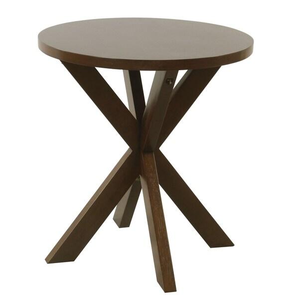 Carson Carrington Hjulby Round Dark Walnut Wood Accent Table