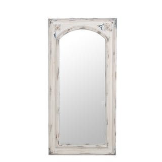 Privilege Antique White Wood Wall Mirror
