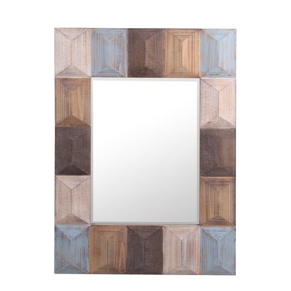 Privilege Rectangular Wood Wall Mirror
