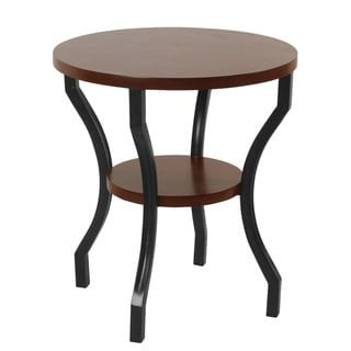 HomePop Small Round Walnut and Ebony Accent Table