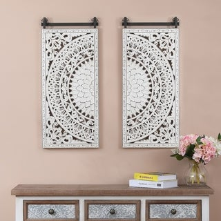 Link to Set of 2 Decorative Carved Floral-Patterned MDF Wall Panel Similar Items in Wood Wall Art