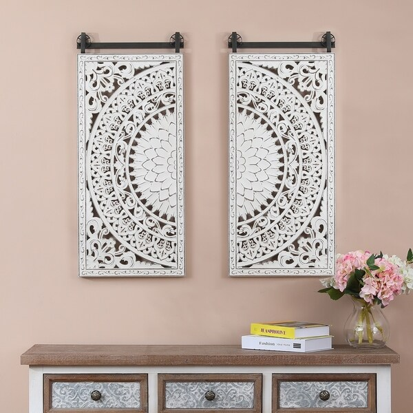 Set of 2 Decorative Carved Floral-Patterned MDF Wall Panel. Opens flyout.