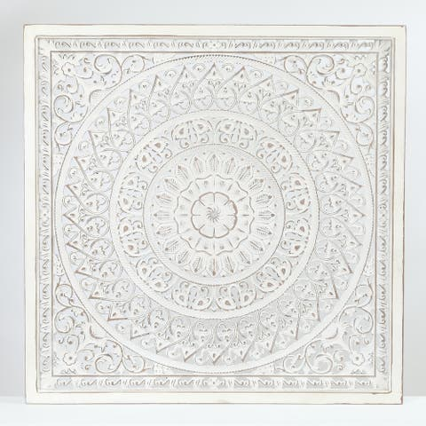 Square Decorative Carved Floral-Patterned MDF Wall Panel