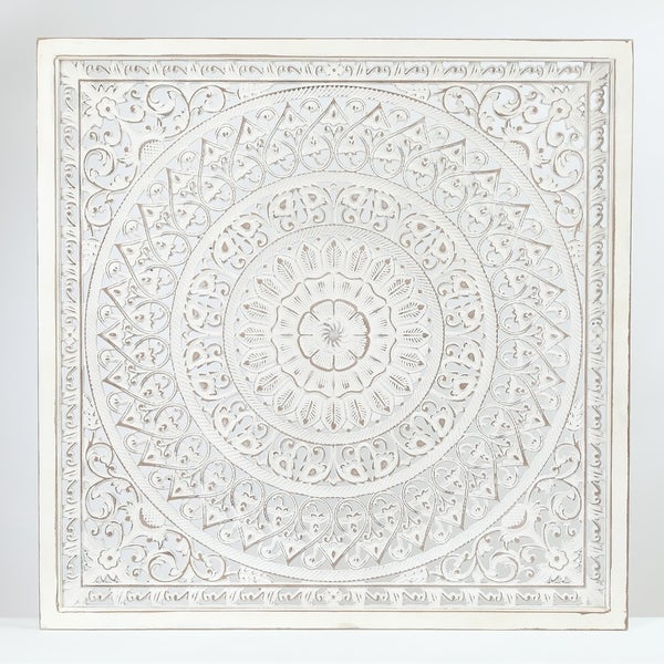 Square Decorative Carved Floral-Patterned MDF Wall Panel. Opens flyout.