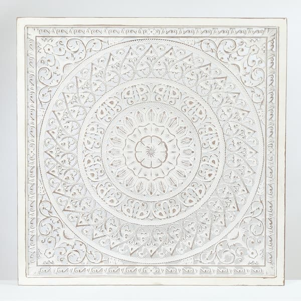 Luxen Home Square Decorative Carved Floral-Patterned MDF Wall Panel in White