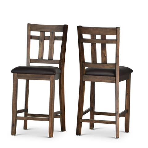 Carbon Loft Elterman Counter Height Slat Back Wood/Faux Leather Counter Chair (Set of 2)