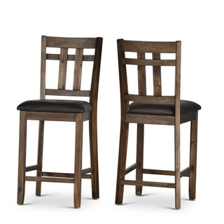 Carbon Loft Elterman Wood and Faux Leather Counter Chair (Set of 2) - Counter Height