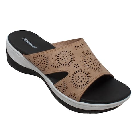 Women's Comfort Curved Slide Sandals Taupe