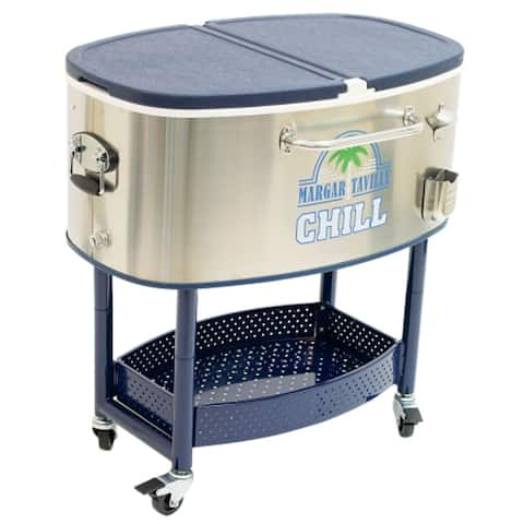 Margaritaville Chill Rolling 77-quart Oval Stainless Steel Cooler