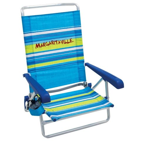 Margaritaville 5-Position Beach Chair - Blue Stripe