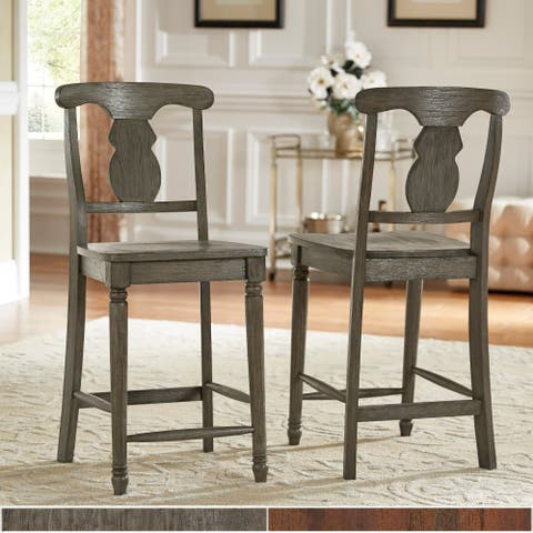 Dawson Reclaimed Wood 24-inch Napoleon Back Counter Height Chair (Set of 2) by iNSPIRE Q Artisan