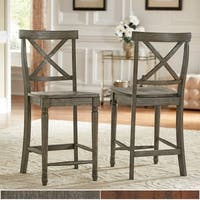 Dawson Reclaimed Wood 24-inch X-back Counter Height Chair (Set of 2) by iNSPIRE Q Artisan