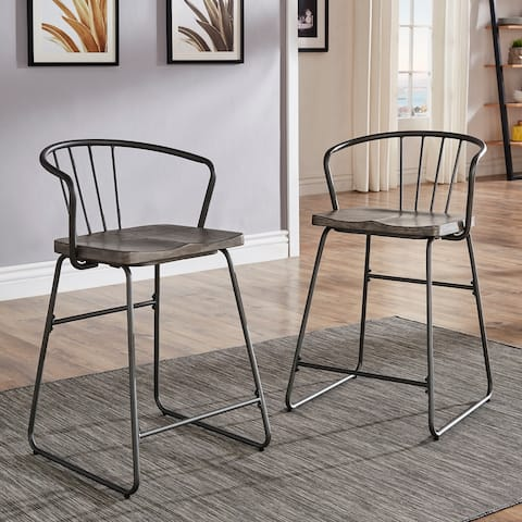 Carbon Loft Amalfi Iron and Grey Finish Counter Height Chair (Set of 2)