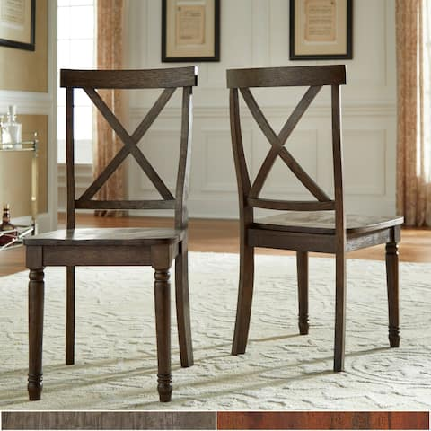 Dawson Reclaimed Brown Finish X-Back Dining Chair (Set of 2) by iNSPIRE Q Artisan
