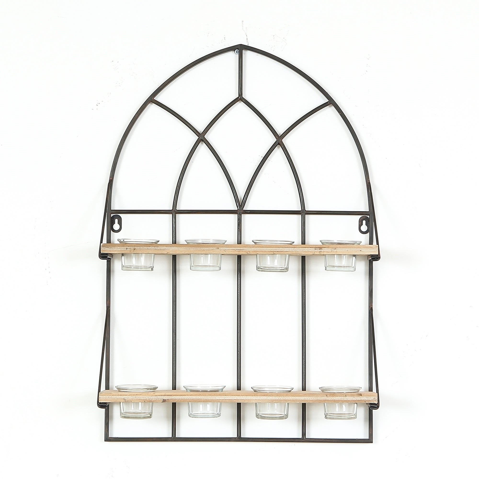 Cathedral Iron Window with 8 Tealight Holders Wall Panel