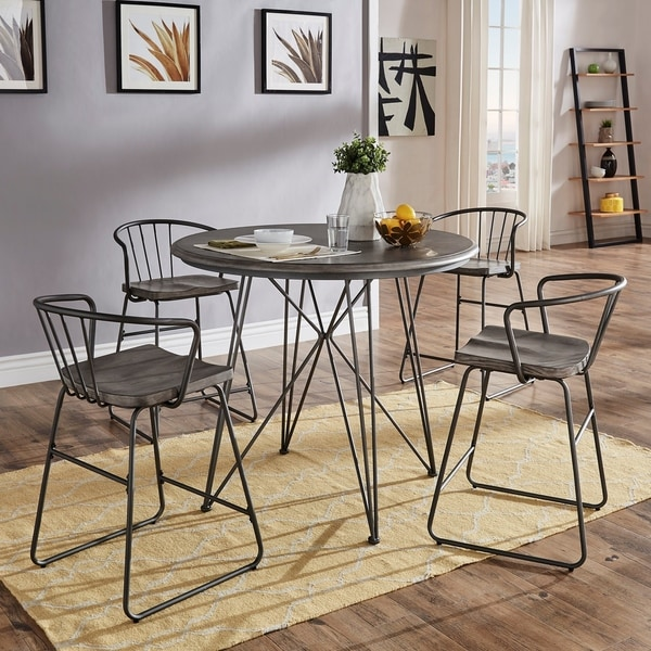 Mabel 42-inch Round Iron and Grey Finish Counter Height Table or Dining Set by iNSPIRE Q Modern. Opens flyout.