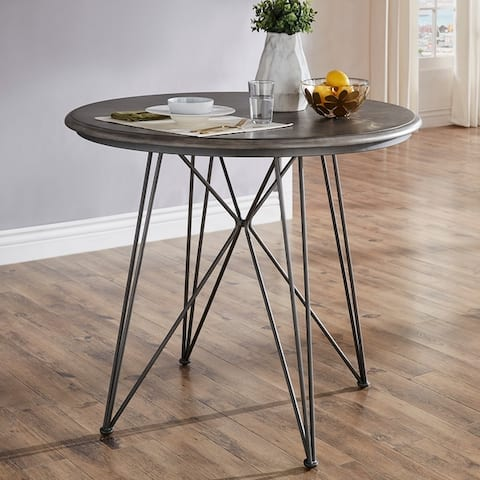 Mabel 42-inch Round Iron and Grey Finish Counter Height Table or Dining Set by iNSPIRE Q Modern