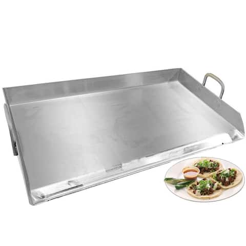 """Professional Restaurant Style Stainless Steel Rectangular Griddle Pan Comal Plancha, BBQ Grills Outdoor Cooking - 32"""" x 17"""""""