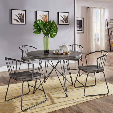 Carbon Loft Crombie Round Iron and Grey Table or 5-Piece Dining Set