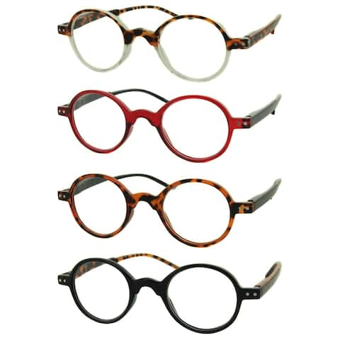Modern Round Reading Glasses 4 Pair Pack