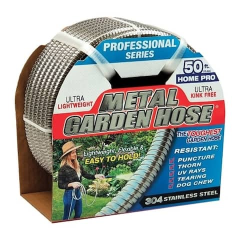 Swan 1/2 in. Dia. x 50 ft. L Silver Stainless Steel Garden Hose