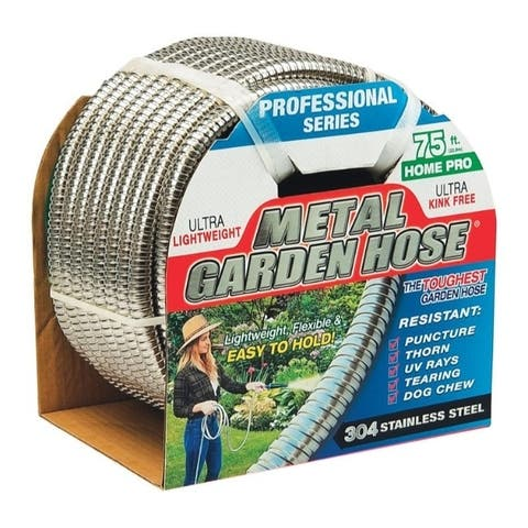 Swan 1/2 in. Dia. x 75 ft. L Silver Stainless Steel Garden Hose