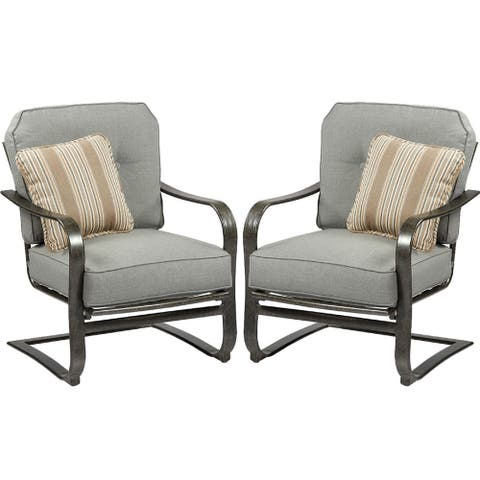 Agio Madison C Spring Chair Set of 2 with Cushion and Throw Pillow