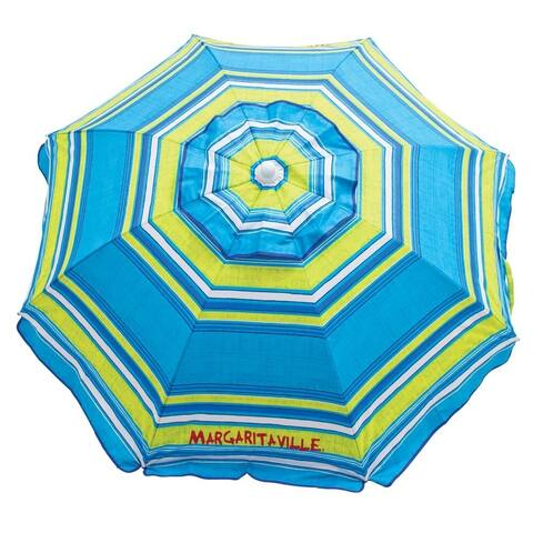 Margaritaville 6' Beach Umbrella with Built-In Sand Anchor - Blue Green Stripe