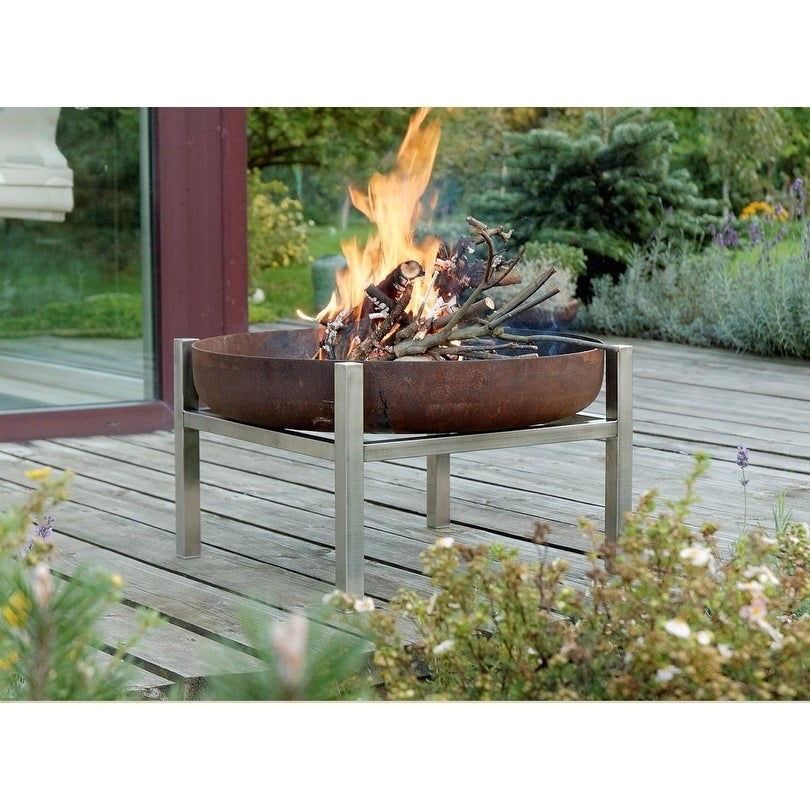 Parnidis Contemporary Fire Pit 25-31, Rusting or Stainless Steel (31 - Steel)