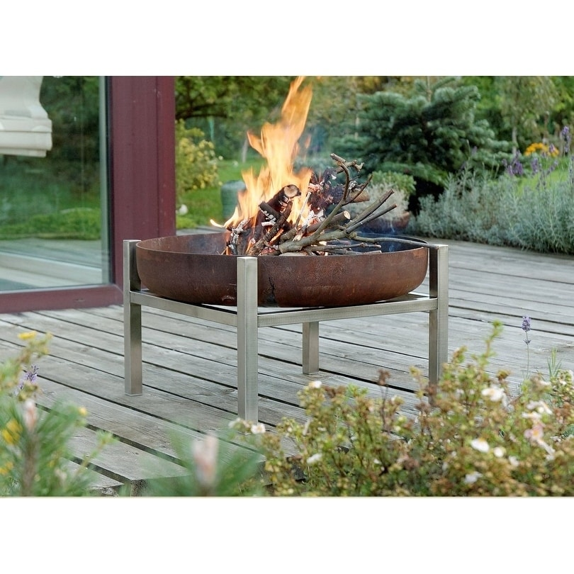 Parnidis Contemporary Fire Pit 25-31, Rusting or Stainless Steel (31 - Stainless Steel)