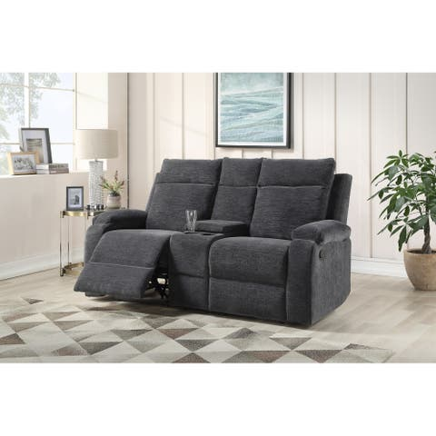 Eldon Tufted Reclining Loveseat with Storage Console by Greyson Living