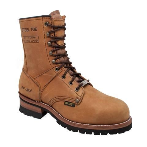 Mens 9 inch Waterproof Steel Toe Logger Brown