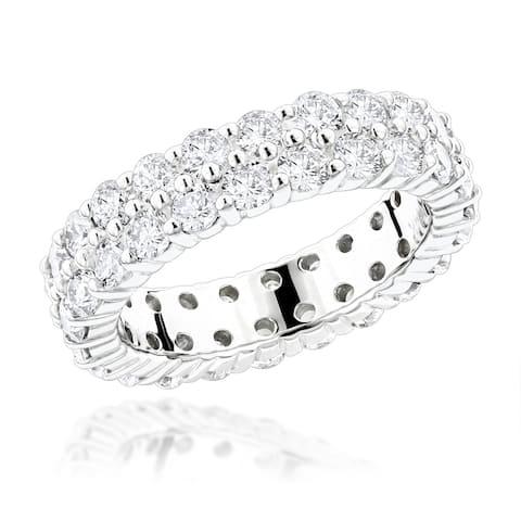 14K Gold Diamond Eternity Ring Round Diamonds Band 2.6ctw by Luxurman