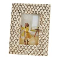 Saro Lifestyle Ivory Scaled Bone Wide Border Photo Frame