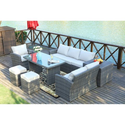 7-piece Grey Wicker Patio Furniture Set with Beige Cushions By Direct Wicker - N/A